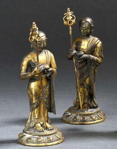 Deux statuettes de moines en bronze doré | Vendu 4000€ le 19 décembre 2015 I Daguerre
