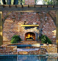 Backyard fireplace and pool.