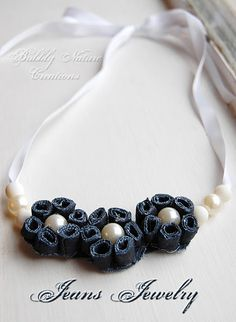 Denim jewellry pearl and ribbon necklace