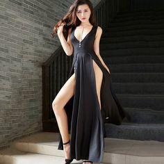 High waist dress Ladies plus size Sexy Long dresses 2019 Summer Hot Fashion  Irregular Open fork 82cb1539e793