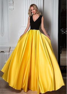 Simple Black And Yellow Charming V-neck Sleeveless Floor Length Prom Dresses, Shop plus-sized prom dresses for curvy figures and plus-size party dresses. Ball gowns for prom in plus sizes and short plus-sized prom dresses for Gold Prom Dresses, V Neck Prom Dresses, Prom Dresses For Sale, Beautiful Prom Dresses, Satin Dresses, Ball Dresses, Ball Gowns, Satin Skirt, Party Dresses
