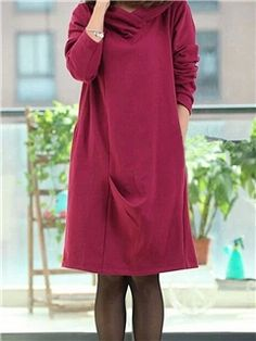 Ericdress Plain Pleated Hooded Casual Dress