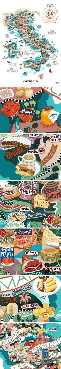 意大利絕對是歐洲美食的天堂,豐富的物產和美食絕對讓任何人都眼花繚亂!設計師ANTOINE CORBINEAU創作了這一幅用意大利美食組成的地圖,各地富有特色的食品一目瞭然!作者還是Camberwell College of Arts畢業的倫藝校友呢。 - 堆糖 发现生活_收集美好_分享图片