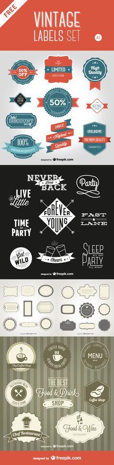 Free Download: Vintage Style Labels Pack From Freepik - designrfix.com