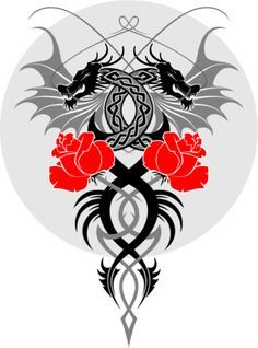 celtic dragon...i have this with blue roses on my leg... awesome..