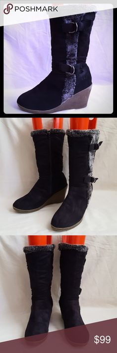 """L.e.i. Black Suede Fabric Fur Trim Wedge Boots L.e.i. black suede like fabric boot with 3 1/2"""" wedge. Style is """"AMBER"""". Fur trim and buckle accent details. Boot measures approx 13"""" from base of heel to top of boot.  Very good used condition. Smoke free and pet free home.   Check out my other listings - 100's of 👠shoes👠, 👢boots👢 and 👜bags👜. Bundle 2 or more and save money!💲💰💲 lei Shoes Winter & Rain Boots"""