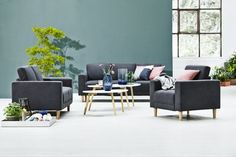 Soffa GAMBORG 3-sits mörkgrå City Style, Love Seat, Design Inspiration, House Design, Couch, Furniture, Online Tests, Making Tools, Home Decor