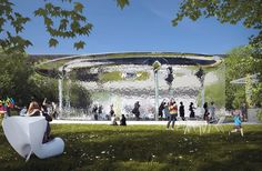 detailed in a way to appear as a volume of water in the space, the pavilion is a response to the idea of the garden as an artificial and abstracted nature.