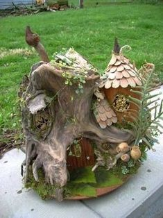 Image result for fairy garden wood carving