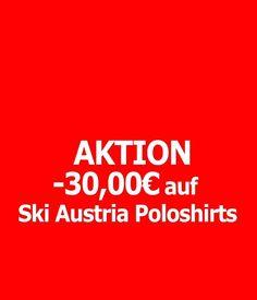 Poloshirts um -30,00 Euro billiger, nur bis diesen Mittwoch!  Jetzt einkleiden unter: www.skiaustria-shop.at/61-shirts-pullover-fleecejacken Ski Austria, Euro, Skiing, Pullover, Shirts, Stuff Stuff, Wednesday, Ski, Sweaters