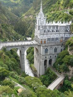 The Las Lajas Cathedral is located in southern Colombia and built in 1916 inside the canyon of the Guaitara River.
