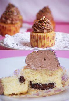 Vanilla Cupcakes with Nutella Heart