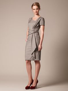 Carolina Herrera Wool Asymmetrical Drape Dress