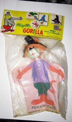 Ideal Punkin Puss Hanna Barbera Puppet mint in original bag with paper header Vintage Paper Dolls, Vintage Toys, Cheap Toys, Bear Birthday, Hanna Barbera, Red Nosed Reindeer, Monster Party, Vintage Cartoon, Old Toys
