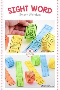 These sight word smartwatches are a fun way to learn how to identify and spell age appropriate sight words. This resource includes the first 100 sight words on Fry's Word List. Learning Sight Words, Sight Word Activities, Preschool Activities, Teaching Letter Recognition, Teaching Letters, Play To Learn, Learn To Read, Kindergarten Lesson Plans, Kindergarten Literacy