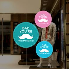 Father's Day Moustache Retail Display Round Sign Window Decals, Moustache, Fathers Day, Home Appliances, Retail, Sign, Display, House Appliances, Floor Space