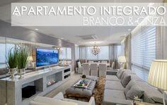 Decor Salteado - Blog de Decoração e Arquitetura : Apartamento com salas de tv e jantar integradas com a cozinha + lavabo lindo!
