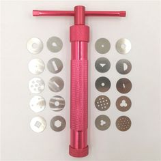 2016 Red Clay Extruders Cake Sculpture Gun With 20 Tips Sugar Paste Extruder Fondant Cake Sculpture Polymer Gun Tool Perfect