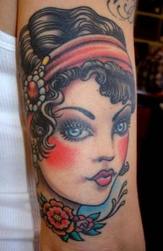 images of pin up girl tattoos | pin up face pin up vintage women faces tattoos tattoo designs tattoo ...