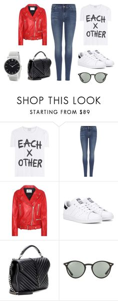 """""""Sin título #8770"""" by ceciliaamuedo ❤ liked on Polyvore featuring Each X Other, 7 For All Mankind, Acne Studios, adidas Originals, Yves Saint Laurent, Ray-Ban and Larsson & Jennings"""