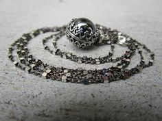 Super Long Back Crystal Ball Gemstone Sterling Silver Necklace