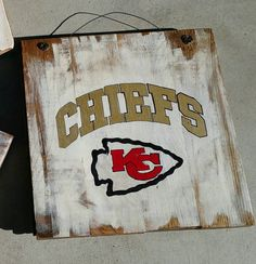 Kansas City Chiefs hand painted sign on reclaimed wood & Kansas City Chiefs wall art | Gifts for my husband | Pinterest ...