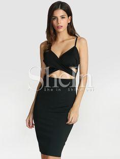 Black Spaghetti Strap Cut Cut Dress -SheIn(Sheinside)