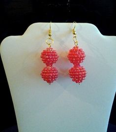 Women's Christmas Red Berry Dangle Earrings hand by streetcrossing