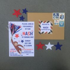 Fourth of July-First Birthday-Invitation-Curious George-4th of July