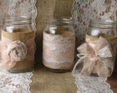 Burlap wedding VINTAGE lace wedding JARs wedding by Bannerbanquet