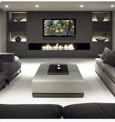 Living Room Tv, Living Room With Fireplace, Living Room Modern, Living Room Designs, Tv Wall Ideas Living Room, Modern Tv Wall, Fireplace Tv Wall, Fireplace Design, Fireplace Ideas