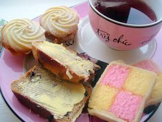 tea and yummy Battenburg cake.