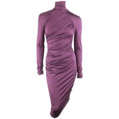 Preowned Giambattista Valli Size Xs Violet Purple Draped Turtleneck... ($628) ❤ liked on Polyvore featuring dresses, purple, sheath dresses, bodycon dress, body con dresses, long sleeve midi cocktail dress, long-sleeve turtleneck dresses and sheath dress