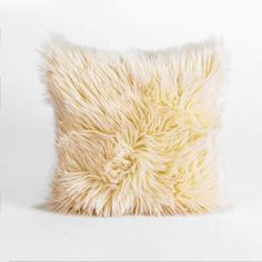 House of Hampton Hussain Handmade Faux Fur Throw Pillow Cover House of Hampton Yellow Throw Pillows, Fluffy Pillows, Fur Throw Pillows, Faux Fur Throw, Throw Pillow Sets, Fur Pillow, Pillow Talk, My New Room, Decorative Pillows