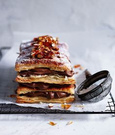 Chocolate and almond millefeuille recipe :: Gourmet Traveller Millefeuille Rezept, Baking Recipes, Dessert Recipes, Meal Recipes, Baking Ideas, Dinner Recipes, Delicious Desserts, Yummy Food, Gourmet Desserts