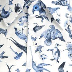 1 Like No Other Mens Blue Bird Print Shirt