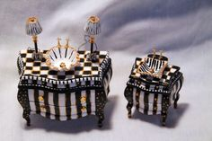 Miniatures--in the style of MacKenzie-Childs!! Adorable!! Carol Sherry Miniatures - Recent work