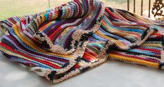 Linear Afghan by OneCreativeFamily on Etsy