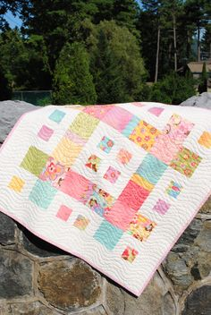 Baby Girl Quilt, Patchwork Handmade Quilt, pattern also for sale. $99.00, via Etsy.