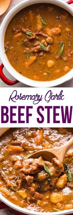 An insanely flavorful BEEF STEW recipe that is cooked slowly so that you end up with really tender pieces of beef!