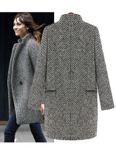 Women Houndstooth Tweed Wool Long Sleeve Long Coat