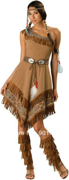 Indian Women Costumes - This Indian maiden is beautiful to everyone not just the natives. Indian Maiden Adult Costume - a tan dress with fringe details and printed bead work, matching fringe boot tops, belt, armband, choker and headpiece. Indian Girl Costumes, American Indian Costume, Western Costumes, American Dress, Adult Costumes, Costumes For Women, Cosplay Costumes, Halloween Kostüm, Halloween Costumes