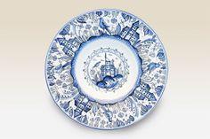 Large Dinner Bowl Ceramic Dinner Bowl with blue by HabanCeramic, Dinner Bowls, Dinner Plates, Love Your Home, Blue Plates, Ceramic Bowls, Blue Flowers, White Ceramics, Wedding Gifts, Blue And White