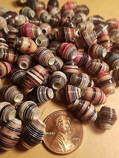 PAPER BEADS 22 CT HANDMADE PHOTOGRAPH PAPER BICONE (F)