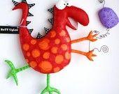 Dinosaur named EddiE ... BuTT UgLee  Red and orange Polka dots