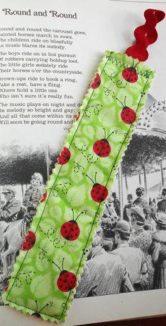 Ladybug Fabric Bookmark by PuddleDuckCottage on Etsy, $2.50