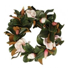 Pink & green magnolia wreath