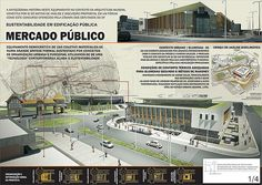 Concurso de Sustentebilidade em Edifícios Públicos (menção) - prancha 01 Concept Board Architecture, What Is Landscape Architecture, Architecture Presentation Board, Architecture Panel, Architecture Drawings, Architecture Design, Presentation Board Design, Mall Design, Portfolio Design