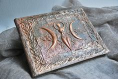 Book of Triple moon fertility Goddess Antique book by Indrasideas, $165.00