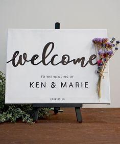 プレ花嫁必見!所要時間30分、結婚式ウェルカムボードの基本的な作り方【無料テンプレート】 / ウェルカムスペース ウェルカムボード ハンドレタリング 装飾アイテム / WEDDING   ARCH DAYS Wedding Welcome Board, Welcome Boards, Seaside Wedding, Diy Wedding, Botanical Wedding, Wedding Signage, Wedding Invitation Design, Wedding Wishes, Painted Signs